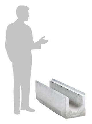 Größenvergleich Entwässerungsrinne BIRCOsir