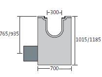 BIRCOsolid Kastenrinne Nennweite 300 Sinkkästen Liniensinkkasten mit KG-Rohrstutzen für Bauhöhe 660/830. mit einbetonierter