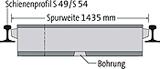 BIRCOsir Gleisentwässerung Nennweite 100 Rinnen Schienenprofil 49 E 1 / 54 E 3 (ehem. S 49/S54) I Spurweite 1435