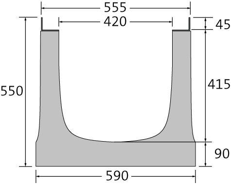 BIRCOsir – große Nennweiten Nennweite 400 Rinnen Rinnenelemente ohne Innengefälle